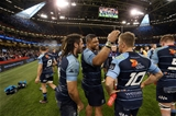 15.04.17 - Cardiff Blues v Ospreys - Guinness PRO12 - Josh Navidi, Nick Williams of Cardiff Blues and Gareth Anscombe of Cardiff Blues share a joke at full time.