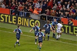 15.04.17 Cardiff Blues v Ospreys - Judgement Day - Gareth Anscombe of Cardiff Blues celebrates his try with team mates