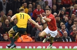 11.11.17 - Wales v Australia - Under Armour Series 2017 -Gareth Davies of Wales takes on Reece Hodge of Australia.
