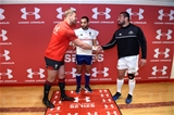 18.11.17 - Wales v Georgia - Under Armour Series -Dan Lydiate of Wales, Referee Mathieu Raynal and Merab Sharikadze of Georgia during the coin toss.