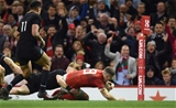 25.11.17 - Wales v New Zealand - Under Armour Series -Scott Williams of Wales scores try.