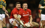02.12.17 - Wales v South Africa - Under Armour Series 2017 - Hadleigh Parkes of Wales celebrates scoring a try with Scott Williams.