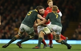 02.12.17 - Wales v South Africa, 2017 Under Armour Autumn Series - Wyn Jones of Wales takes on Lood de Jager of South Africa and Pieter-Steph du Toit of South Africa