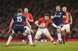 03.02.18 - Wales v Scotland, NatWest 6 Nations - Steff Evans of Wales takes on Stuart Hogg of Scotland