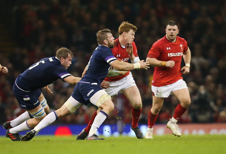 03.02.18 - Wales v Scotland, NatWest 6 Nations - Rhys Patchell of Wales  takes on John Barclay of Scotland
