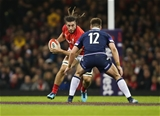 03.02.18 - Wales v Scotland, NatWest 6 Nations - Josh Navidi of Wales takes on Huw Jones of Scotland