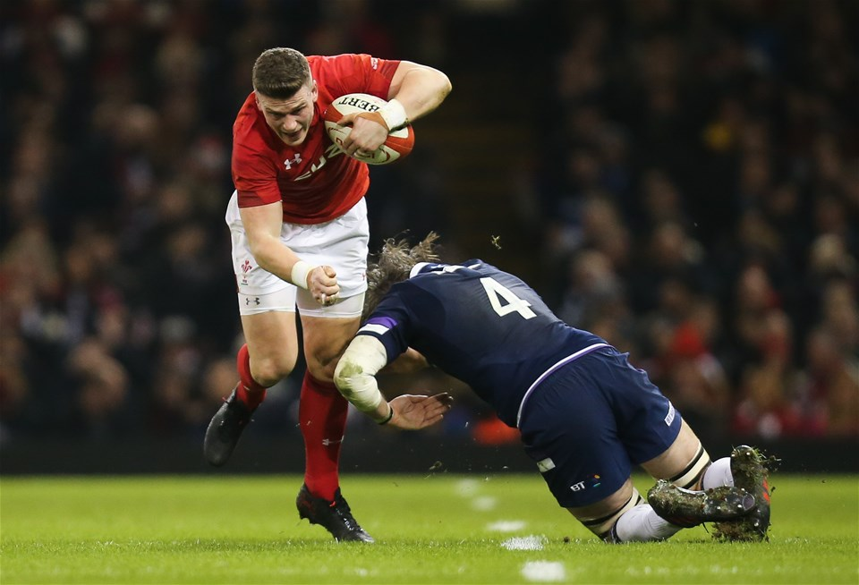 03.02.18 - Wales v Scotland, NatWest 6 Nations - Scott Williams of Wales gets past Ben Toolis of Scotland