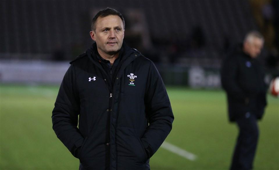 09.02.18 - England U20 v Wales U20 - NatWest 6 Nations - Wales players warm up before kick off. Wales U20 Head Coach Jason Strange.