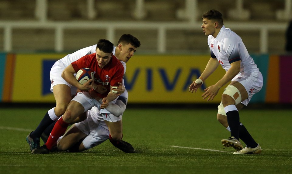 09.02.18 - England U20 v Wales U20 - NatWest 6 Nations - Callum Carson of Wales is brought down.