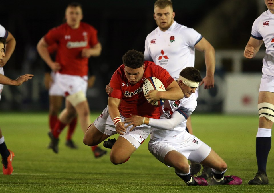 09.02.18 - England U20 v Wales U20 - NatWest 6 Nations - Rio Dyer of Wales is tackled by James Grayson of England.