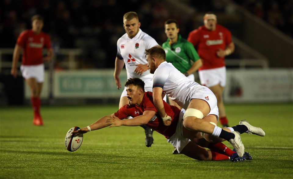 09.02.18 - England U20 v Wales U20 - NatWest 6 Nations - Ryan Conbeer of Wales fumbles under the tackle of Sam Moore of England.