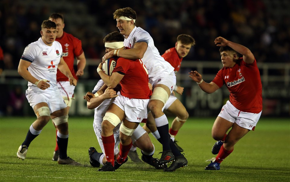 09.02.18 - England U20 v Wales U20 - NatWest 6 Nations - Taine Basham of Wales is tackled by Dino Lamb of England.
