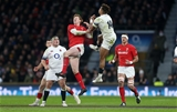 10.02.18 - England v Wales - Natwest 6 Nations - Rhys Patchell of Wales and Anthony Watson of England go up for the ball.