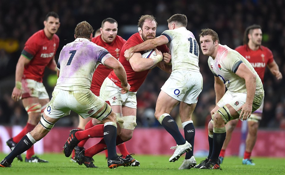 10.02.18 - England v Wales - NatWest 6 Nations -Alun Wyn Jones of Wales takes on George Ford of England.