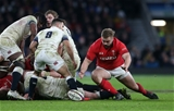 10.02.18 - England v Wales - Natwest 6 Nations - Tomas Francis of Wales jumps on the ball.