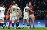 10.02.18 - England v Wales - Natwest 6 Nations - Jack Nowell of England and Ross Moriarty of Wales shake hands at full time.