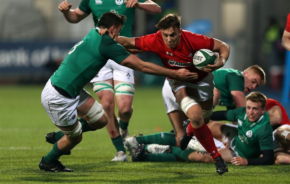 23.02.18 - Ireland U20s v Wales U20s - Natwest 6 Nations - Taine Basham of Wales is tackled by Jack O'Sullivan of Ireland.