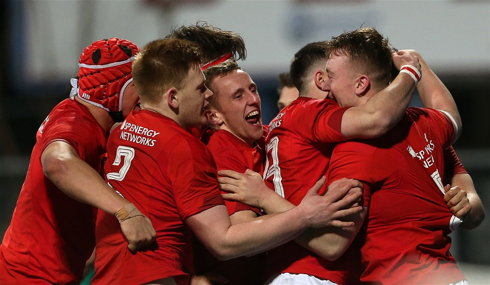 23.02.18 - Ireland U20s v Wales U20s - Natwest 6 Nations - Tommy Reffell of Wales celebrates scoring a try with team mates.