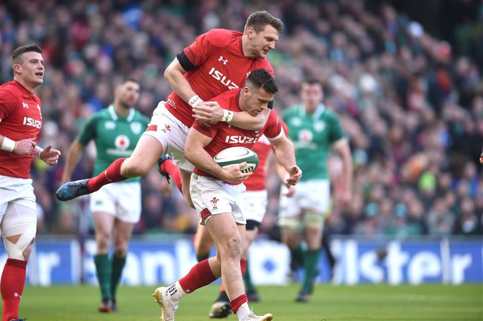 24.02.18 - Ireland v Wales - NatWest 6 Nations 2018 -Gareth Davies of Wales celebrates his try with Dan Biggar.