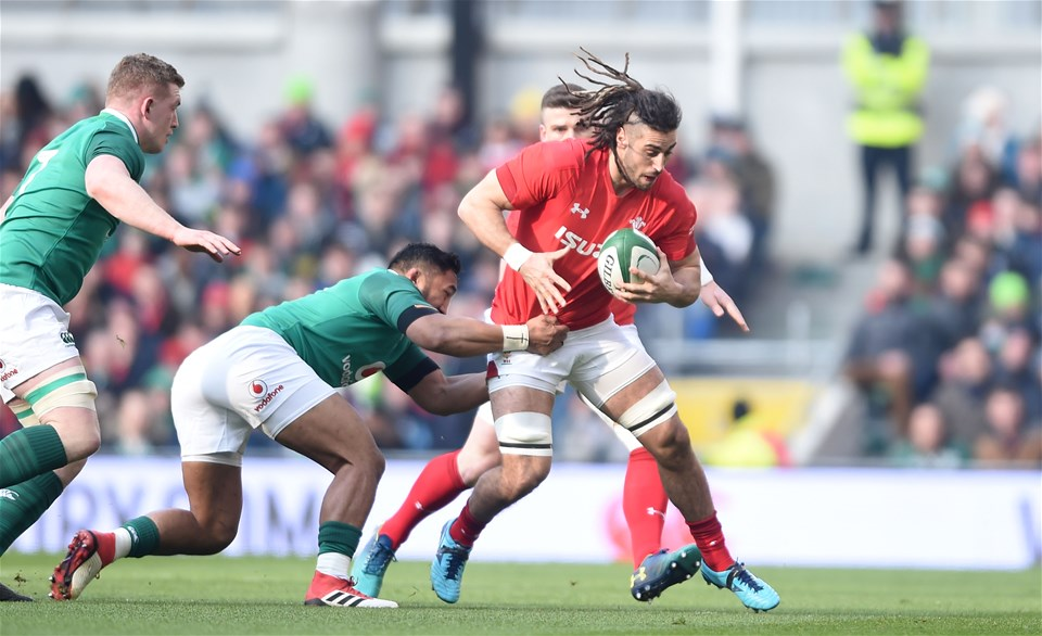 24.02.18 - Ireland v Wales - NatWest 6 Nations 2018 -Josh Navidi of Wales is tackled by Bundee Aki of Ireland.