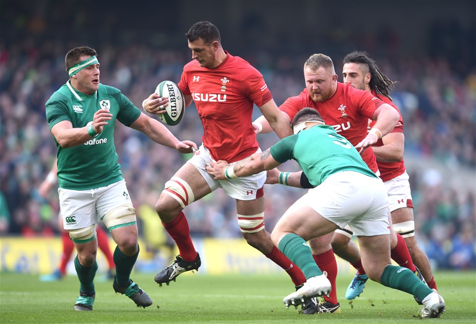 24.02.18 - Ireland v Wales - NatWest 6 Nations 2018 -Aaron Shingler of Wales is tackled by CJ Stander and Andrew Porter of Ireland.