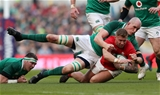 24.02.18 - Ireland v Wales - Natwest 6 Nations - Ross Moriarty of Wales is tackled by Devin Toner of Ireland.