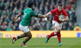 24.02.18 - Ireland v Wales - Natwest 6 Nations - Scott Williams of Wales is tackled by Bundee Aki of Ireland.