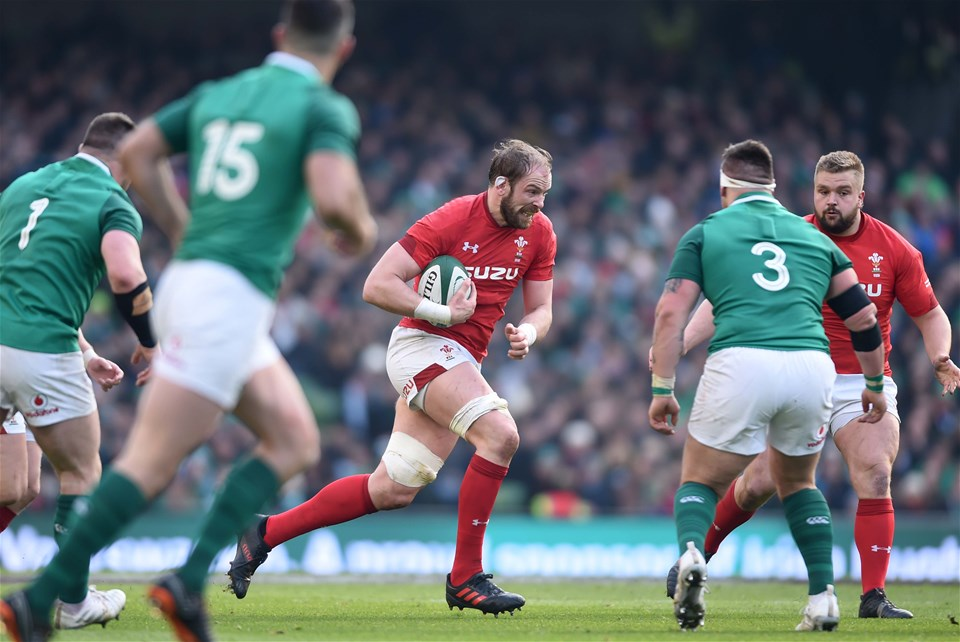 24.02.18 - Ireland v Wales - NatWest 6 Nations 2018 -Alun Wyn Jones of Wales is tackled by Andrew Porter of Ireland.