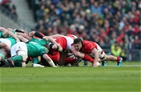 24.02.18 - Ireland v Wales - Natwest 6 Nations - Josh Navidi of Wales in the scrum.