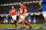 11.03.18 - Wales v Italy - NatWest 6 Nations 2018 -George North of Wales celebrates his try.