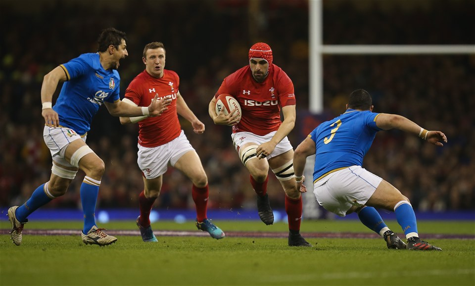 11.03.18 - Wales v Italy, NatWest 6 Nations 2018 - Cory Hill of Wales takes on Simone Ferrari of Italy