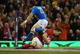 11.03.18 - Wales v Italy, NatWest 6 Nations 2018 - George North of Wales races in to score try
