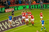11.03.18 - Wales v Italy, Nat West 6 Nations Championship - George North of Wales celebrates his try with team mates