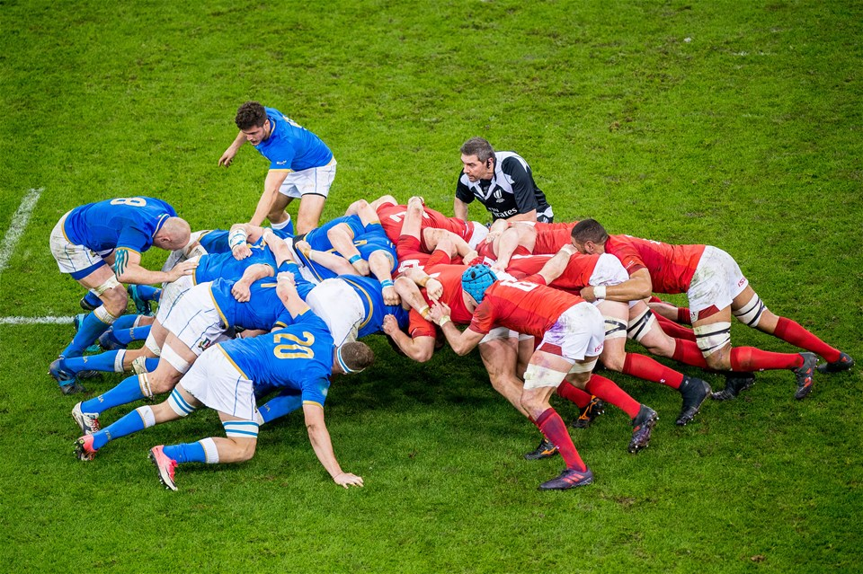 11.03.18 - Wales v Italy, Nat West 6 Nations Championship - Wales try to push Italy in the Scrum