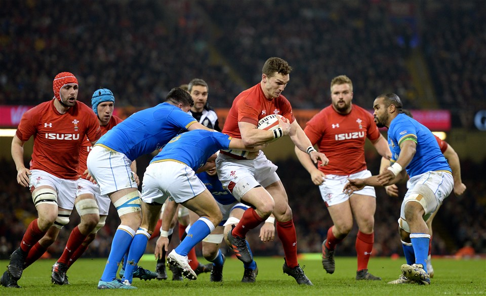 11.03.18 - Wales v Italy - NatWest 6 Nations 2018 -George North of Wales is tackled by Marcello Violi of Italy.
