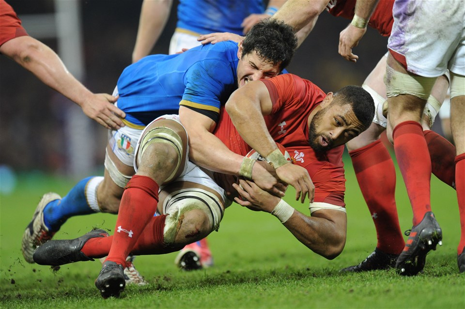 11.03.18 - Wales v Italy - NatWest 6 Nations Championship - Taulupe Faletau of Wales is tackled by Alessandro Zanni of Italy