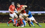 11.03.18 - Wales v Italy - NatWest 6 Nations 2018 -George North of Wales scores try.
