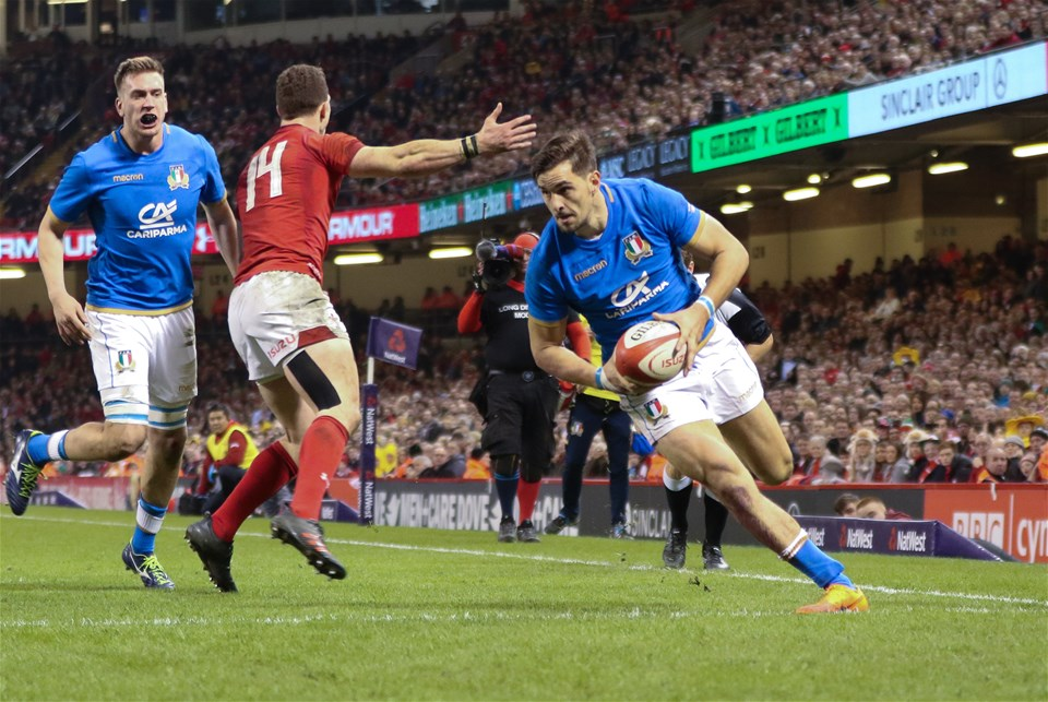 11.03.18 - Wales v Italy, NatWest 6 Nations 2018 -Mattia Bellini of Italy races in to score try