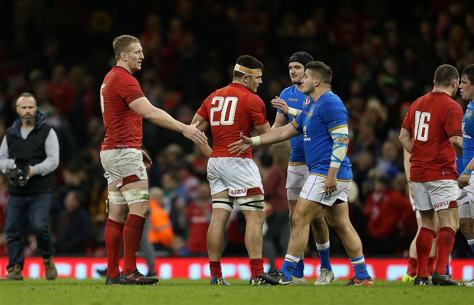 11.03.18 - Wales v Italy - Natwest 6 Nations Championship - Bradley Davies of Wales shakes hands with Tiziano Pasquali of Italy.