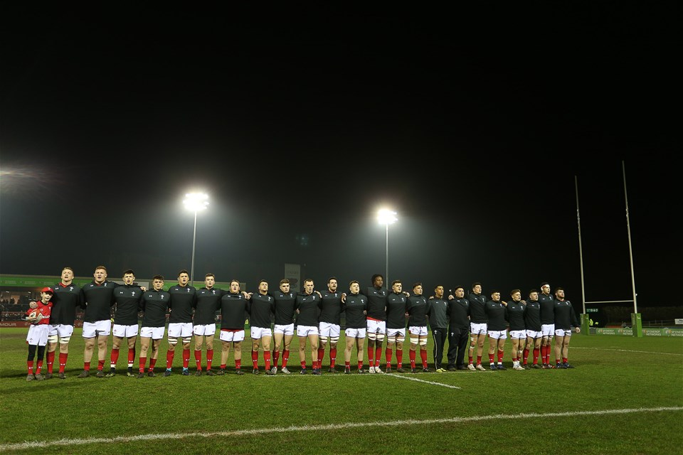 16.03.18 - Wales U20s v France U20s - Natwest 6 Nations Championship - Wales sing the anthem.