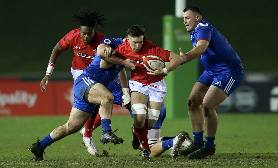16.03.18 - Wales U20s v France U20s - Natwest 6 Nations Championship - Taine Basham of Wales is tackled by Guillaume Marchand of France.