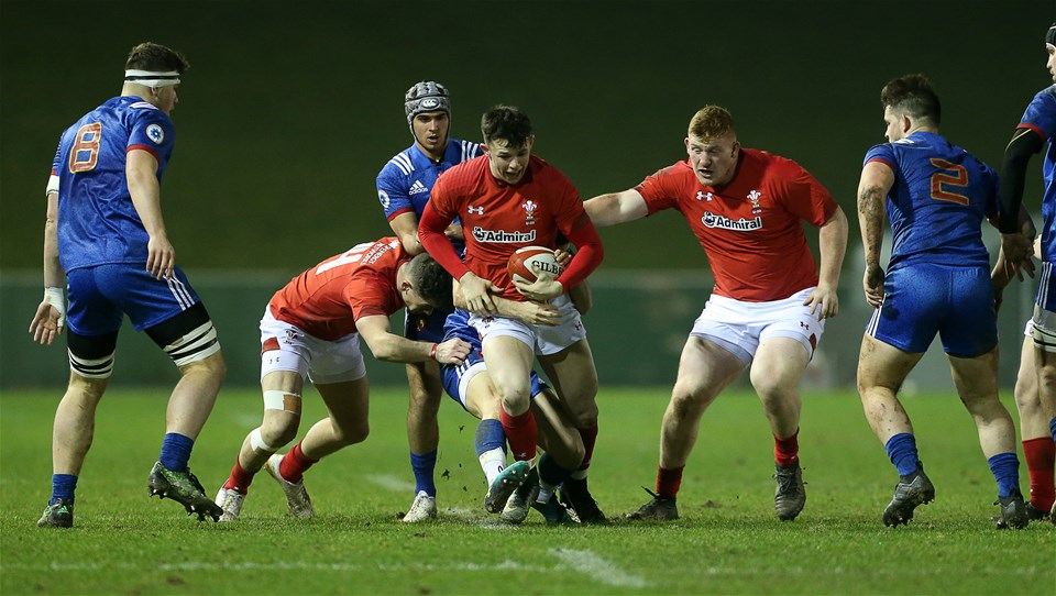 16.03.18 - Wales U20s v France U20s - Natwest 6 Nations Championship - Tommy Rogers of Wales is tackled by Jules Gimbert of France.