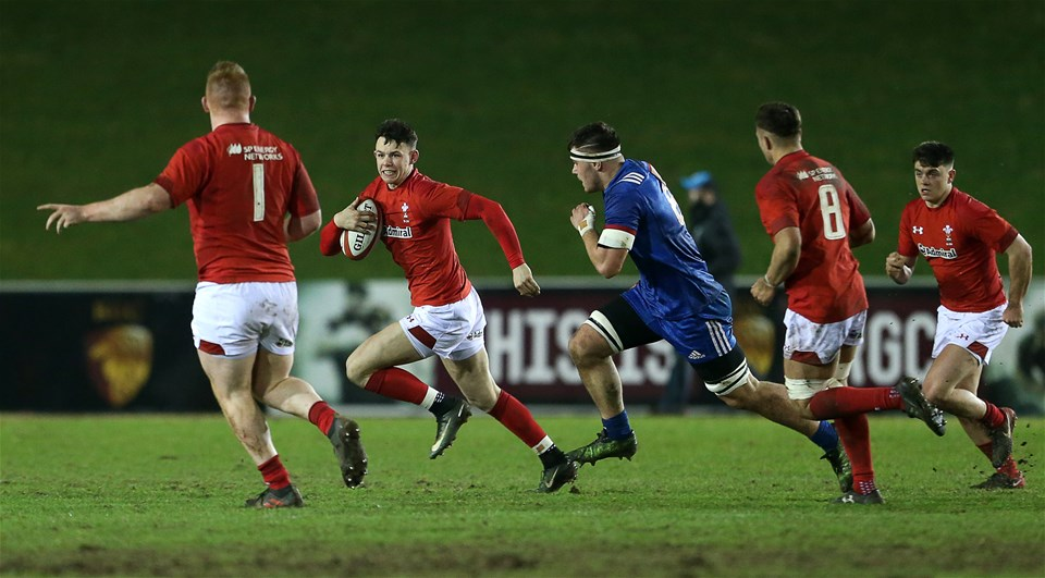 16.03.18 - Wales U20s v France U20s - Natwest 6 Nations Championship - Tommy Rogers of Wales carries the ball.