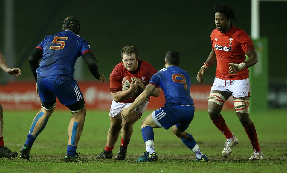 16.03.18 - Wales U20s v France U20s - Natwest 6 Nations Championship - Rhys Henry of Wales is tackled by Jules Gimbert of France.