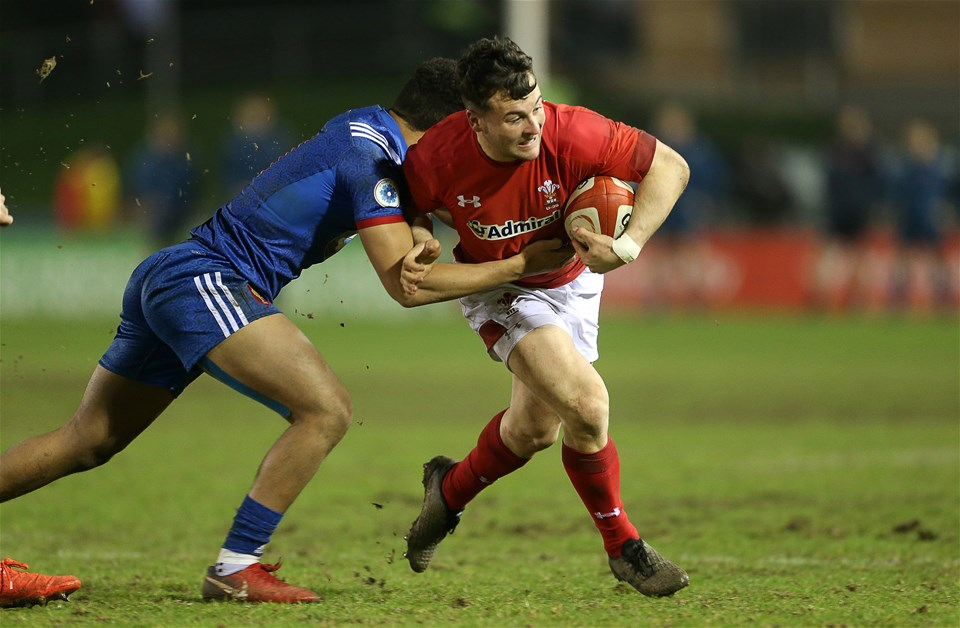 16.03.18 - Wales U20s v France U20s - Natwest 6 Nations Championship - Ryan Conbeer of Wales is tackled by Matthis Lebel of France.