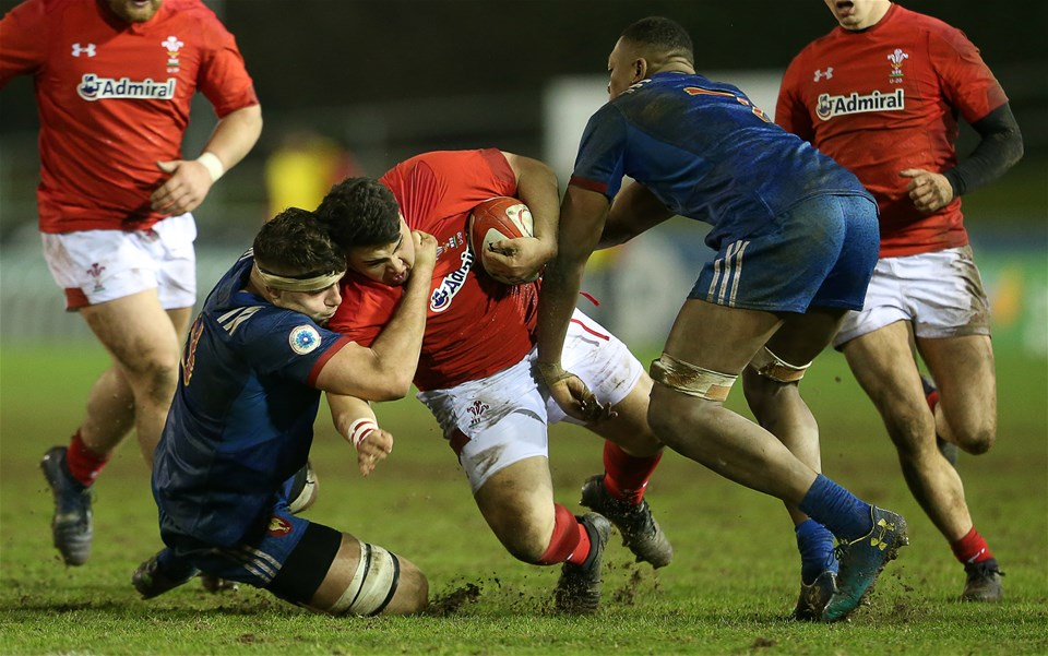 16.03.18 - Wales U20s v France U20s - Natwest 6 Nations Championship - Josh Reynolds of Wales is tackled by Georges Colombe of France.
