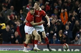 17.03.18 - Wales v France - Natwest 6 Nations Championship - Liam Williams celebrates scoring a try with Gareth Davies of Wales.