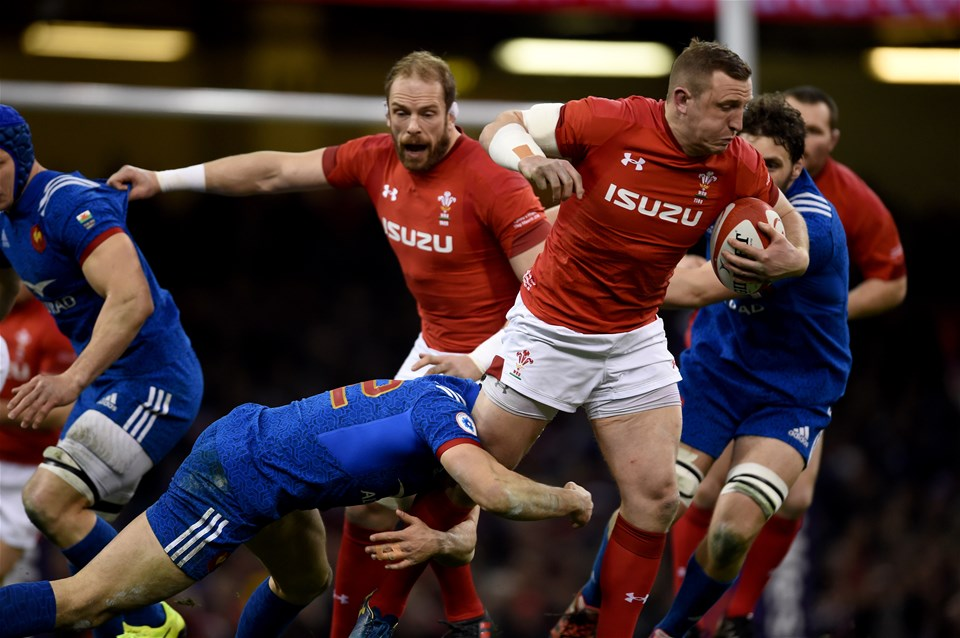 17.03.18 - Wales v France - NatWest 6 Nations - Hadleigh Parkes of Wales is tackled by Geoffrey Doumayrou of France