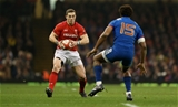 17.03.18 - Wales v France - Natwest 6 Nations Championship - George North of Wales is challenged by Benjamin Fall of France.
