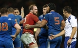 17.03.18 - Wales v France - Natwest 6 Nations Championship - Alun Wyn Jones of Wales is helped up by Sebastien Vahaamahina of France.